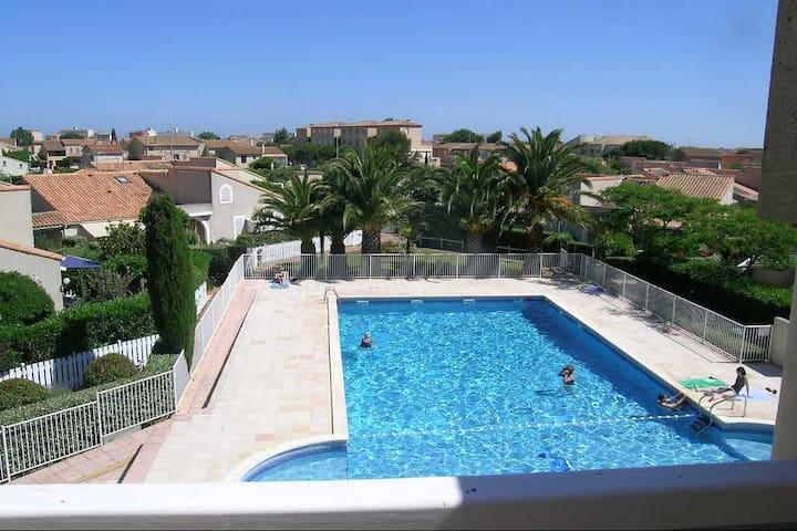 Appart T2 + terrasse + Parking et piscine privée - Valras-Plage - Appartement