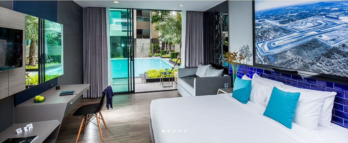 Cool and Modern Twin Deluxe Pool Access Buriram - Buri Ram - Boutique-hôtel