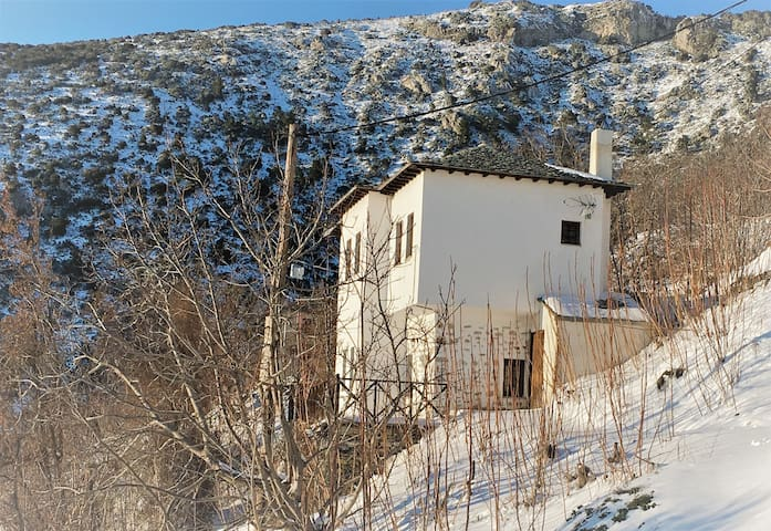Traditional private stone mansion with great view - Μακρινίτσα - Hus