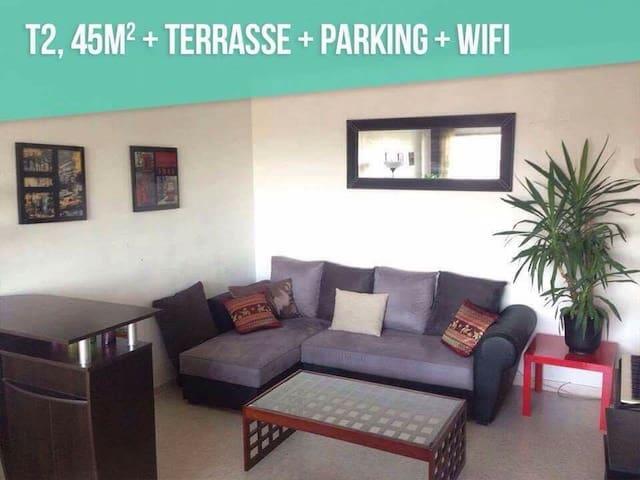 Proche des PLAGES T2 45m2 +TERASSE +WIFI +PARKING - Lunel - Квартира